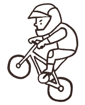 BMXの選手のイラスト(スポーツ) モノクロ線画