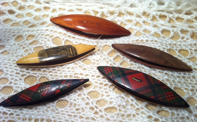 Antique Tatting Shuttles  - Wood, Tartanware and Mauchline