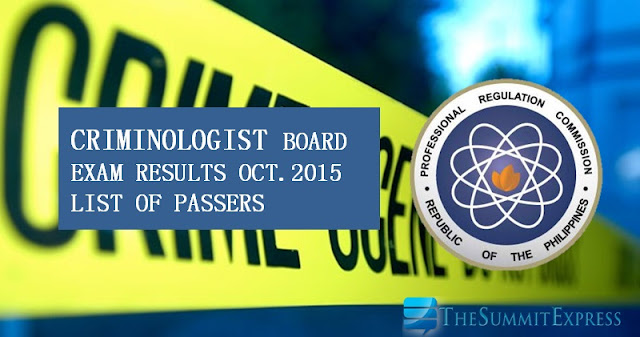 October 2015 Criminologist board exam results