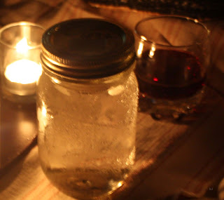 water in mason jar, wine on tick stripe by lb for l&l