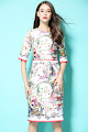 New 2016 Half Sleeve Designer Vintage Print OL Dress