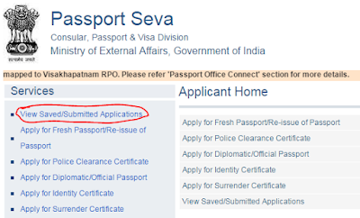 View Saved\Submitted applications of Passport