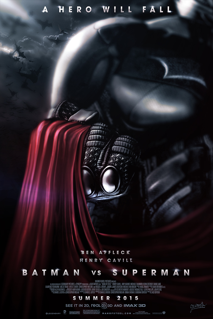 Check out cool fan art for the batman vs superman movie