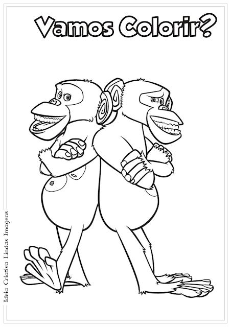 Madagascar Macacos desenho para colorir