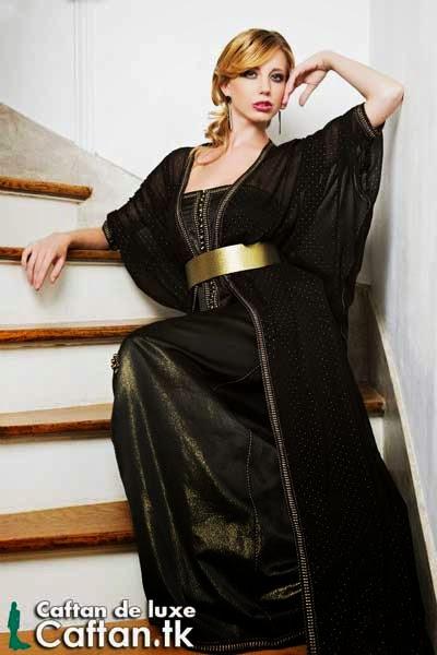 Takchita | robe de soirée noire pois or