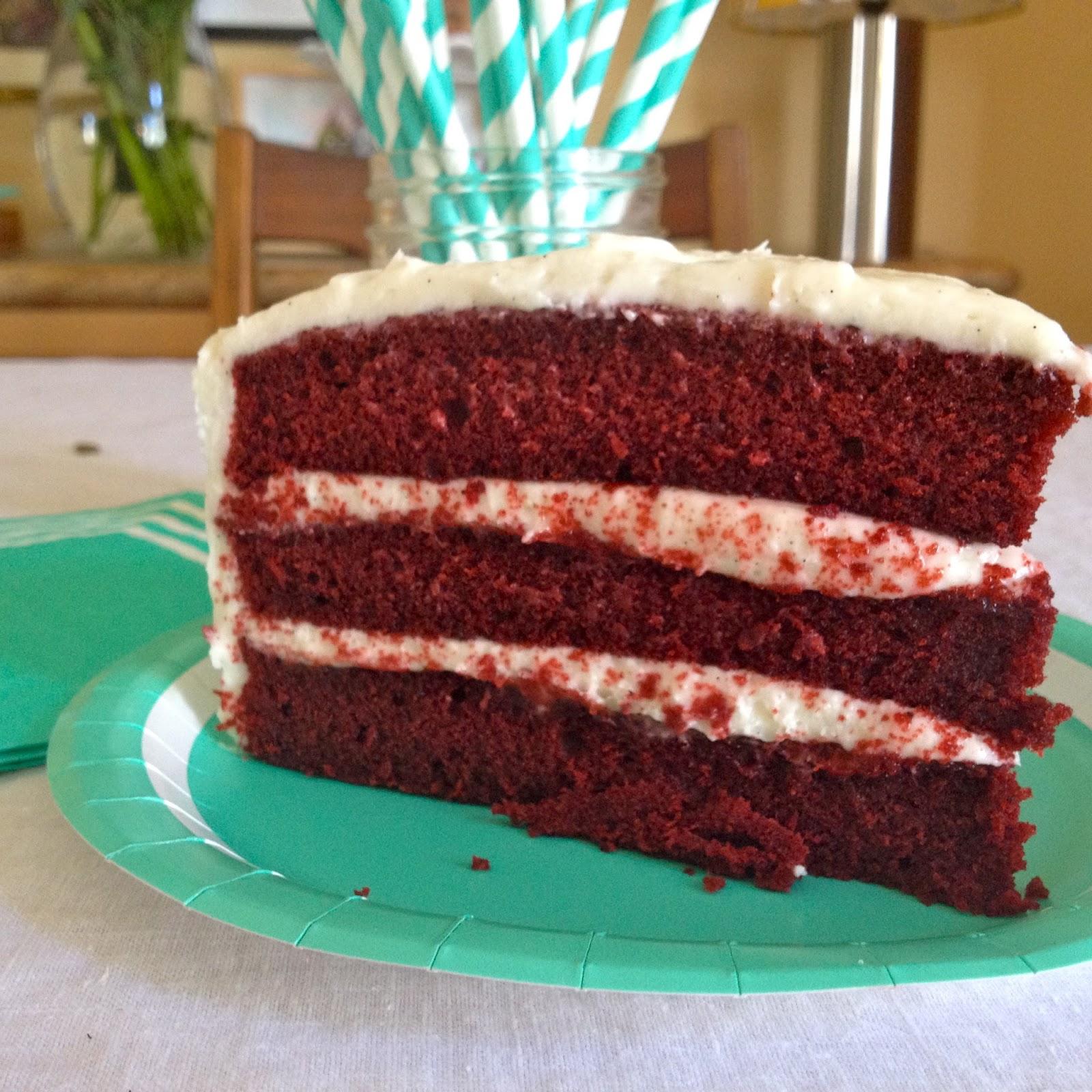 Red Velvet Cake Slice Baking a Love Story