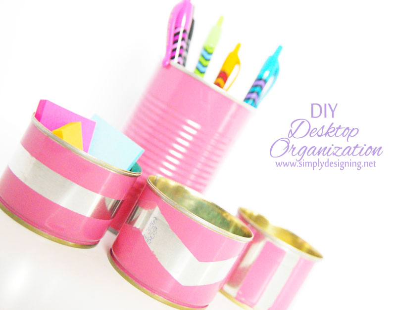 DIY Desktop Organization | for less then $1 you can DIY your own cute desktop accessories | #desk #office #diy
