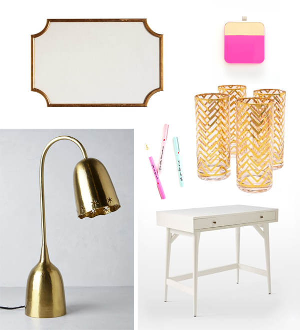 ban do, west elm, anthropologie lamp, pottery barn desk, gold chevron cup, shop bop, ban do pens