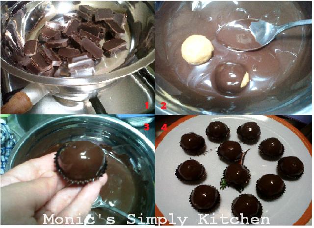 Pencelupan coklat untuk pelapisan pada chocolate truffle
