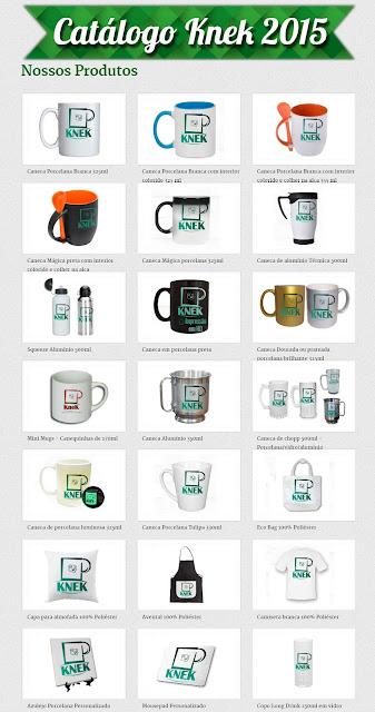 Catálogo de produtos KneK canecas personalizadas