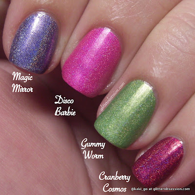 Enchanted Polish in Magic Mirror, Disco Barbie, Gummy Worm, and Cranberry Cosmos
