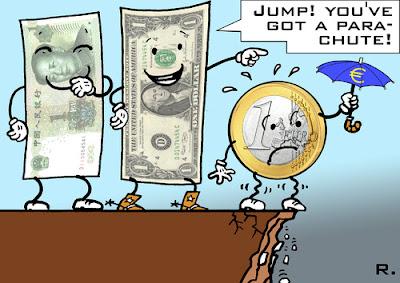dollar, yen, euro, cartoon, crisis