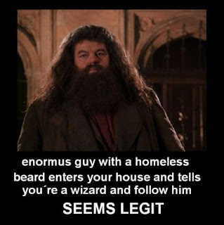 enormous guy with a homeless beard enters your house and tells you're a wizard and follow him.SEEMS LEGIT