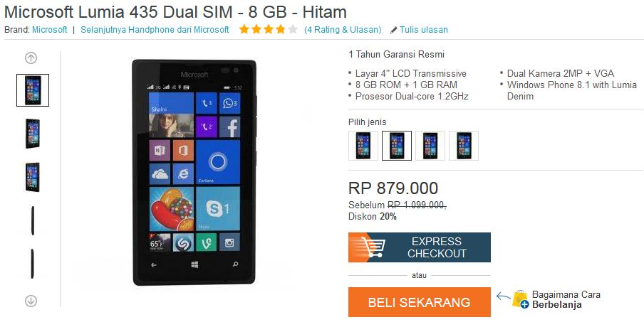 Microsoft Lumia 435 Rp879.000,-