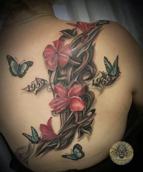 Flowers Butterflies Tribal Tattoo