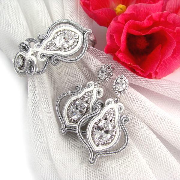 kolczyki i bransoletka ślubna sutasz ażurowe