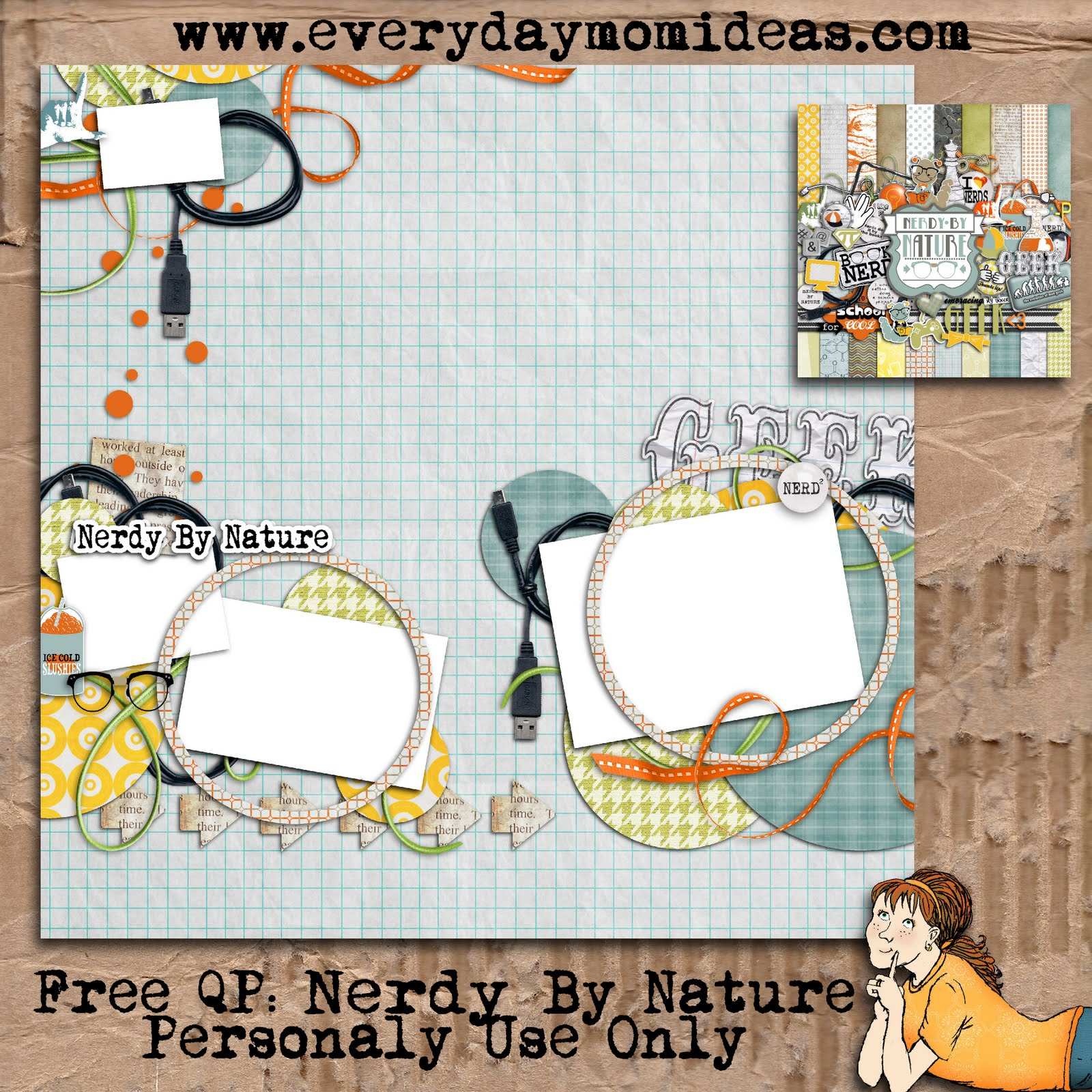 Digital scrapbooking kits free all about scrapbooking ideas - Free Nerdy By Nature Digital Scrapbooking Quick Page Everyday Free Nerdy By Nature Digital Scrapbooking Quick