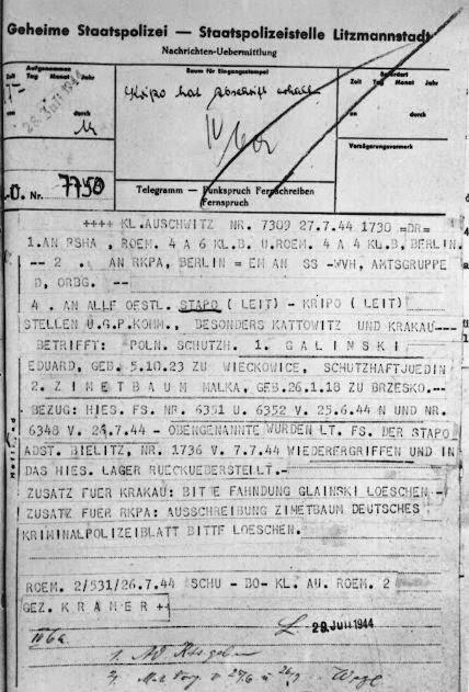 Fuga de Edek Galiński y Mala Zimetbaum de Auschwitz