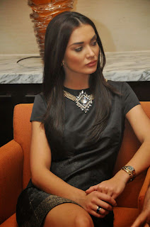 Actress Amy Jackson Picture Gallery in Black Short Dress at I Movie Press Meet  56.jpg