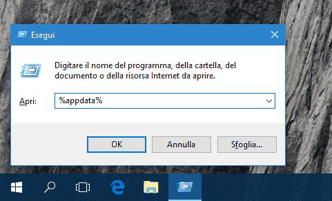 Finestra dialogo Esegui in Windows