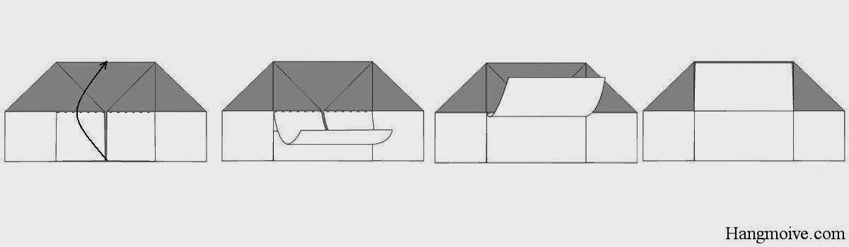Bước 7: Gấp lớp giữa lên phái trên như hướng dẫn hình dưới.