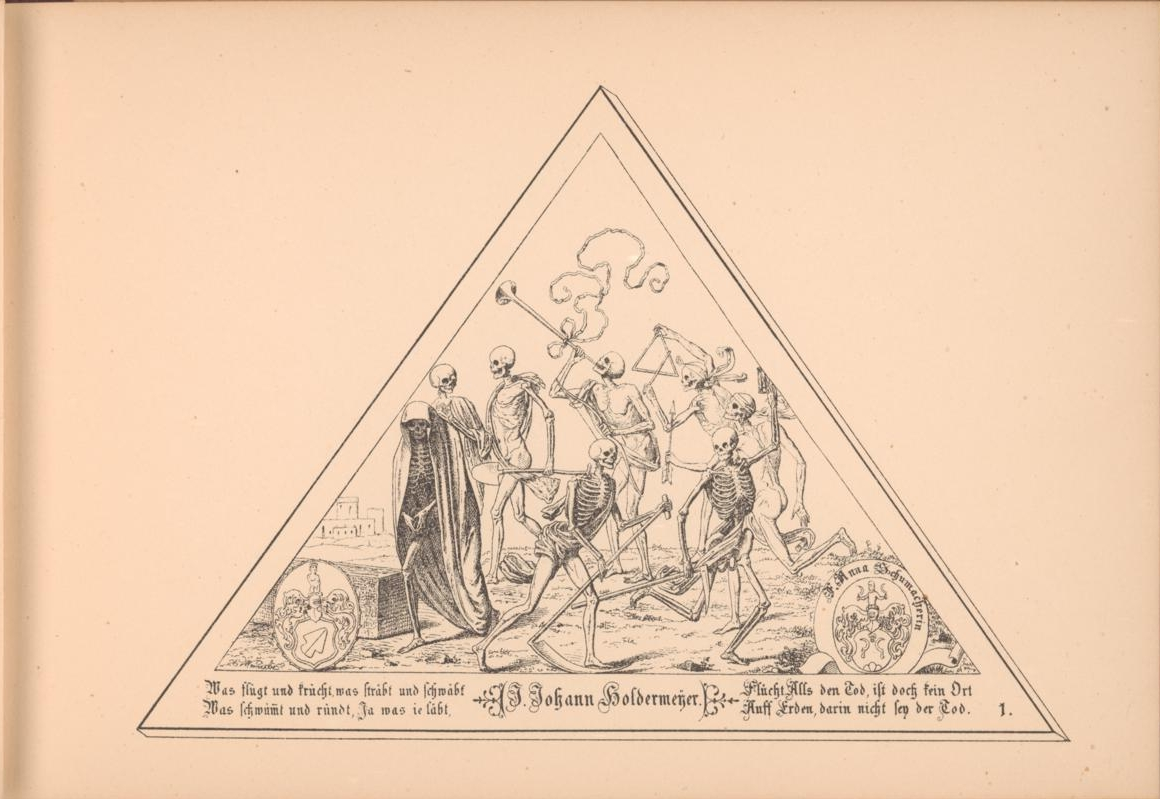 dancing skeletons inside triangular illustration border