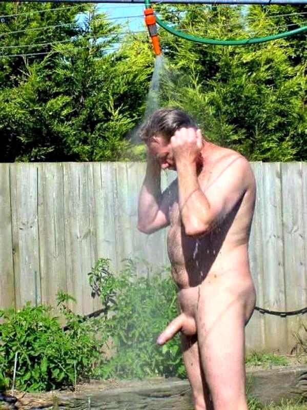 Chubby man shower curious