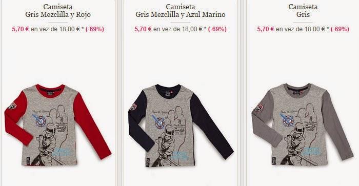 Ejemplos en rojo, azul y gris de camisetas de manga larga para niño