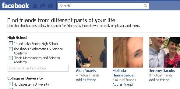 Search Friends on FB