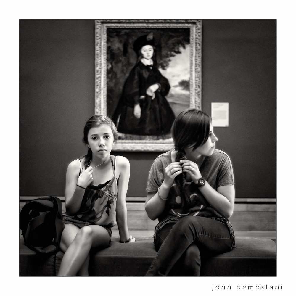 Getty Center, Art and art appreciation, young people, black and white portrait