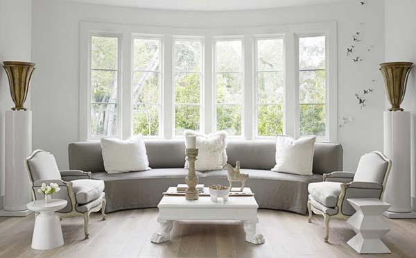 salón en grises y blanco-cálido- curvo y elegante