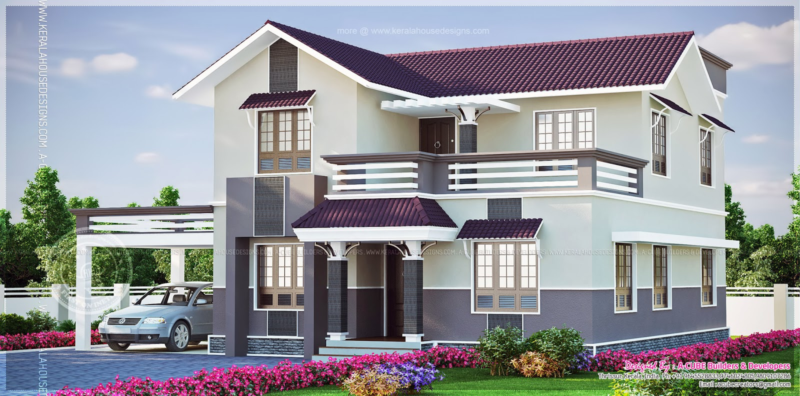 beautiful 4 bedroom villa in 2015 square feet home kerala plans