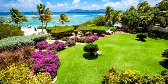The gardens and private beach enjoy views of St Barts and St Martin