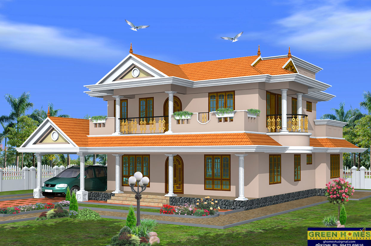 Green homes beautiful 2 storey house design 2490 sq feet for Free home architecture design