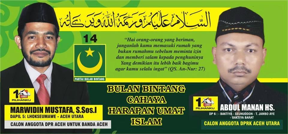 Calon Anggota DPR Kabupaten Aceh Utara Nomor Urut 1. Pemilu Legislatif 2014 DaPil-6 ; Baktiya, Seunuddon, Tanah Jambo Aye, Baktiya Barat