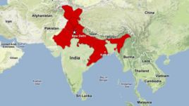 Map showing India power outage