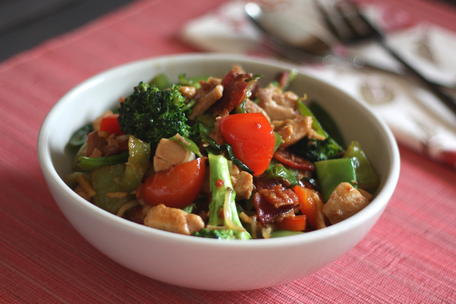 spicy chinese vegetable stir fry with chicken grilled smokey chicken ...