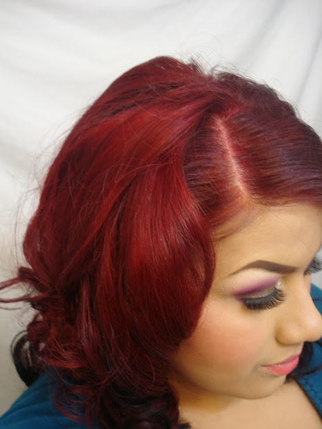 coloring hair dark red
