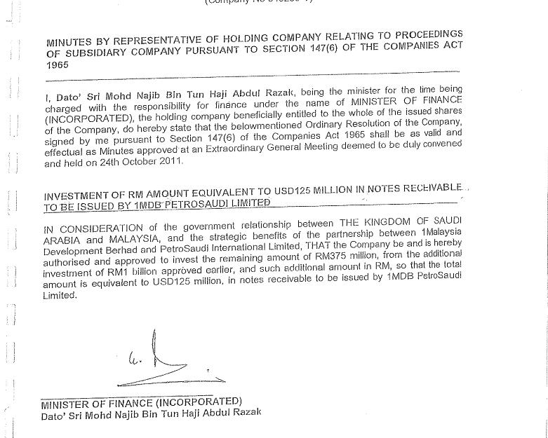 Bukti kelulusan Najib mengenai 1MDB