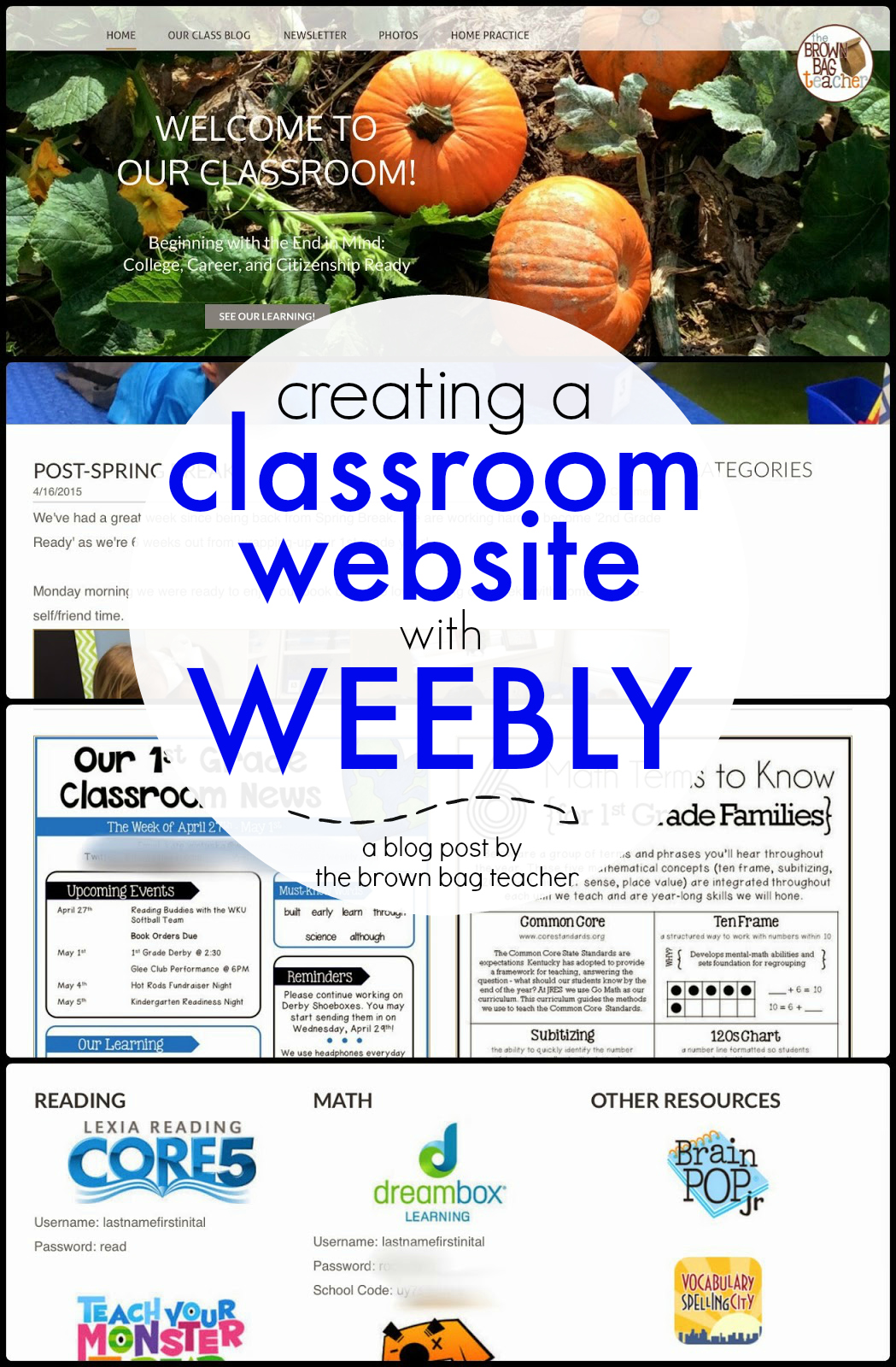 The brown bag teacher creating a classroom website using for Weebly site templates