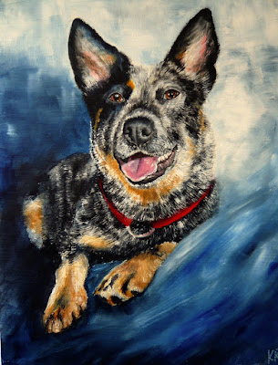 Oil painting of a blue heeler, painting of an Australian cattle dog, pet portrait by Karen
