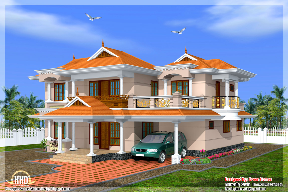 Kerala model home in 2700 house design plans for Home front design model
