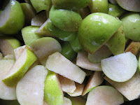 Washed and sliced pears