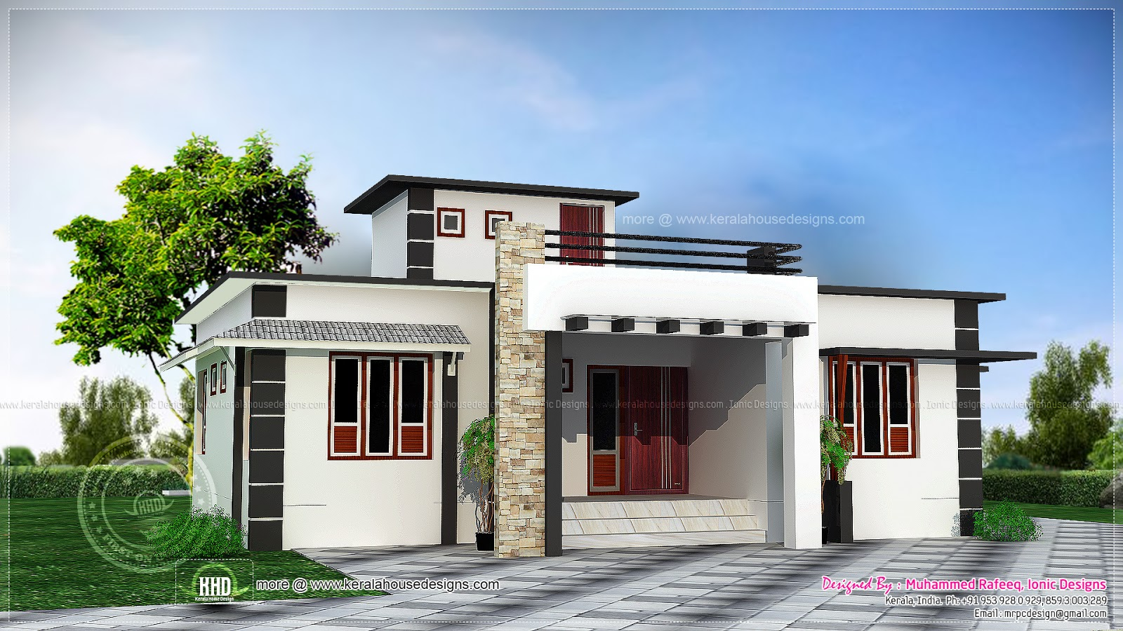 1060 square feet one storied house kerala home design for One floor house exterior design
