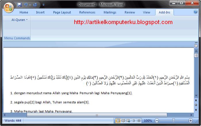 install font arab di word 2007