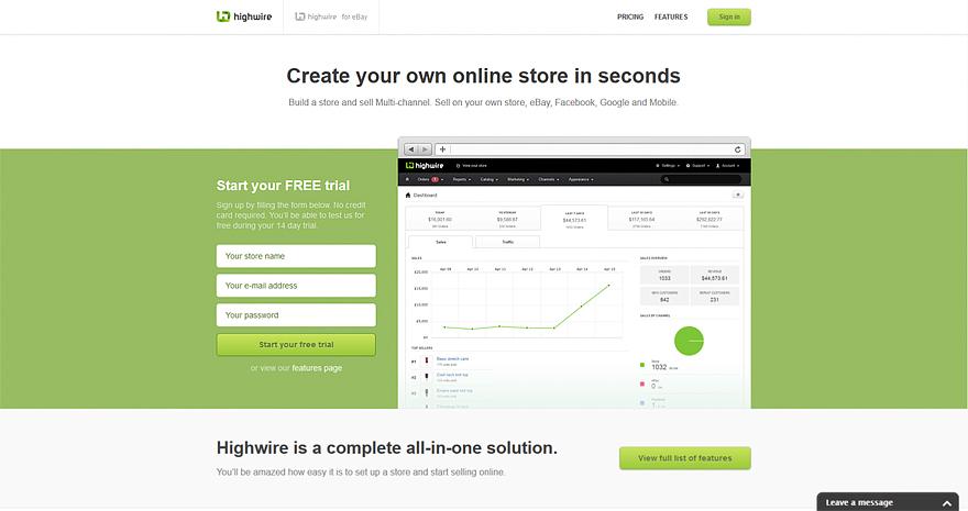 HighWire online store web builder
