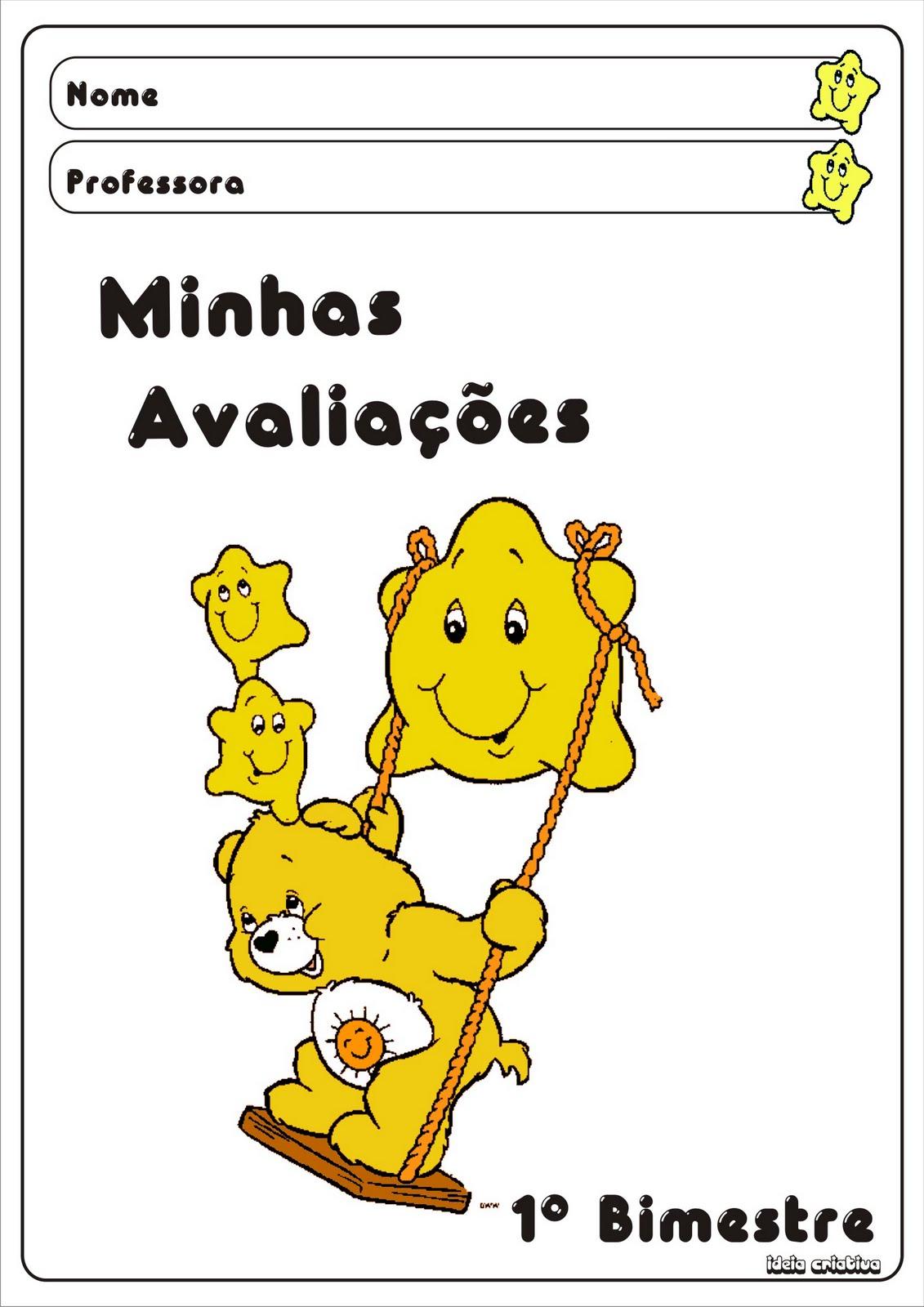 Capas Pra Avaliacoes Criancas Capas De Avaliacoes 1   Bimestre Ursinho