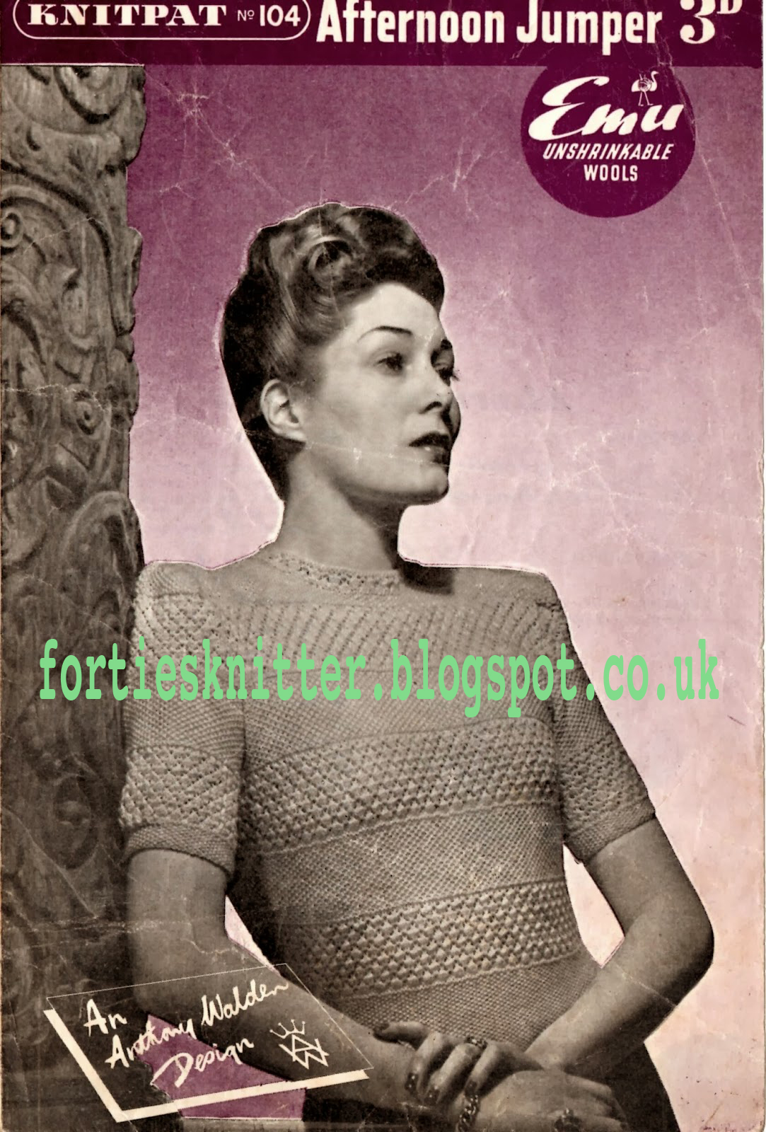 1940's Knitting - Knitpat 104 Women's Jumper free pattern