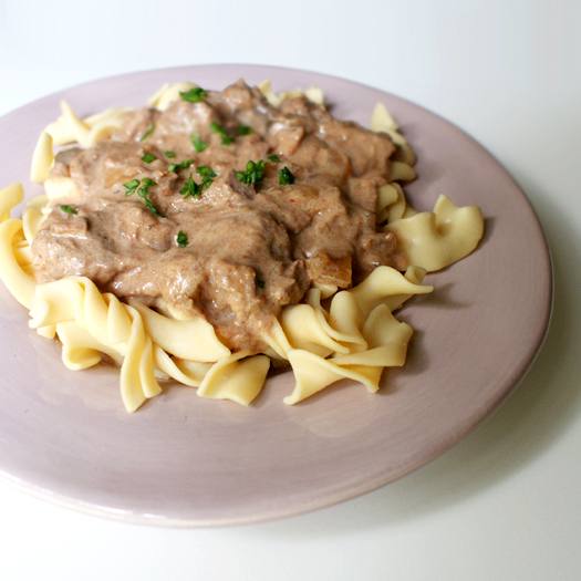 Slow Cooked Beef Stroganoff made with no canned soups!