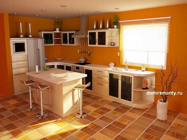 Напольное покрытие на кухне керамическая плитка